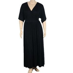 ELOQUII Black Faux Wrap Dress